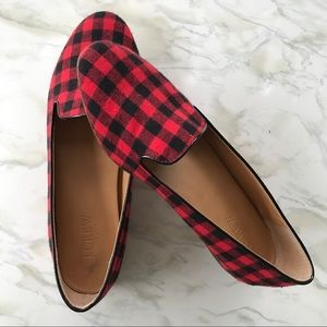 J.Crew Red Buffalo Check Loafers